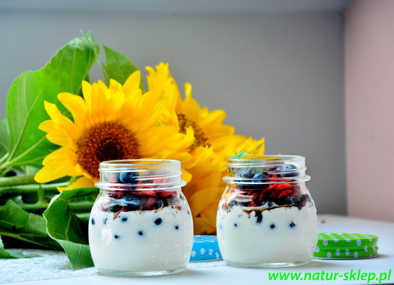 pyszne śniadanie na bazie jogurtu naturalnego, jagód goji i miodu